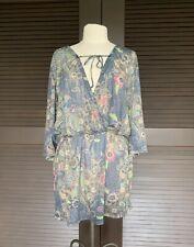 prAna Women's Size Large 3/4 Sleeve Dress in Blue/Turquoise NWOT