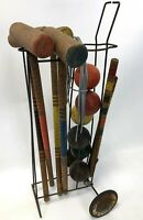 Antique Vintage 4 Mallet Turned Wood Yard Game Croquet Set Kit w/ Rolling Caddy