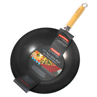 "28cm 11"" Red Typhoon Non-Stick Carbon Steel Chinese Wok Cooking Stir Fry Pan"