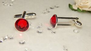 S/P Cufflinks & 10mm Siam Red Resin Cabs.Wedding.Ladies.Mens.Gifts.Accessories