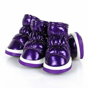 LOVEONE DOG SHERPA LINED DOG BOOTS - PURPLE ~ BRAND NEW! (LARGE)