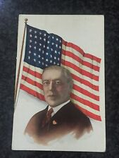 WWI President Woodrow Wilson American Flag Patriotic Postcard Vintage