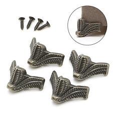 4Pcs Vintage Jewelry Box Wooden Case Decorative Feet Leg Metal Corner Protector