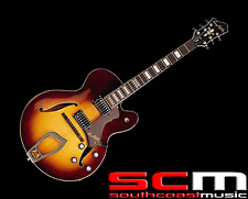 Hagstrom HJ800VST Vintage Sunburst Finish Jazz Full Hollow Body Electric Guitar