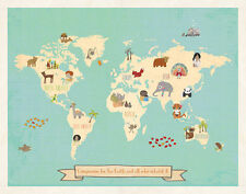 "Global Compassion World Map, 24x18"", woodland animal nursery, world map for kids"