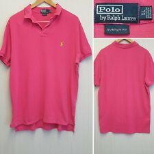 Polo Ralph Lauren Color de rosa caliente camisa POLO tamaño XL Ajuste Personalizado T-Shirt Collar de diseñador