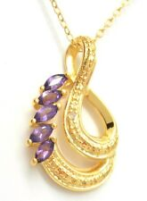 Amethyst & Diamond Pendant with Necklace 925 Sterling Silver Gold Plated
