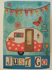 """""""Life is an ADVENTURE.. JUST GO"""" Camper, Maps, Vacation, Travel Garden flag"""