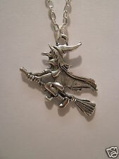 """Large Flying Witch Pendant With 18"""" Silver Plated Necklace"""