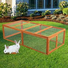 "71"" Xl Wooden Rabbit Hutch Poultry Chicken Coop House Animal Cage Backyard Run"