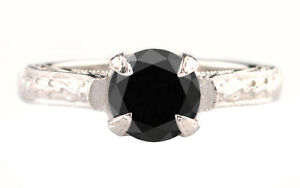 100% Natural Jet Black Diamond 2.70Ct Round Cut Solitaire Ring In 925 Silver