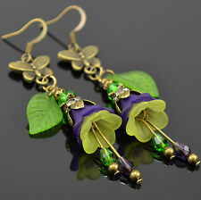 French Butterfly Purple Modern Lime Green Lucite Flower Garden Long Earrings