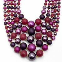 Vintage Statement Necklace Purple Pink Bib JAPAN 5 Strand