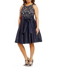 JESSICA HOWARD Navy Blue Sleeveless Lace & Taffeta Fit & Flare Belted Dress 6P