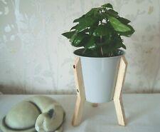 Grey Metal Planter On Wooden Frame Legs Indoor Flower Pot 19cms