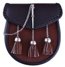 Leather Sporran, Learher Furr W/ Chain, Black and Brown, LI-SCO-0009