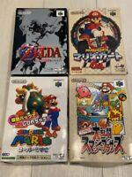 Super Mario 64, Super Smash Bros, Mario Kart, with box, Zelda Nintendo 64 Japan