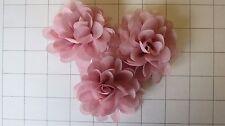 "Set of 3 2.75"" Dusty Pink Chiffon Flowers Embellishments  Dance Costumes! (I-12)"