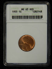 1955 1C Lincoln Cent ANACS MS 63 RED