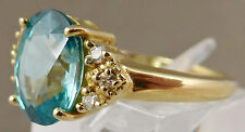 Beautiful New Blue Zircon and Diamond Ring ~ Solid 14K ~ 3.86 Carats ~ Size 6