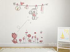 Wandtattoo Wandsticker Wandaufkleber Pink BabyKatze Hase Kaninchen Blume Cartoon