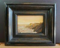 Small Oil Painting - Coastal Seascape Rocky Coast Sunset - William L. Barnes