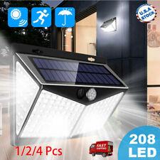 1/2/4pcs 208 Led Solar Power Lights Pir Motion Sensor Wall Lamp Waterproof New