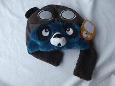 Greendog Kids Grey Furry Panda Pilot Winter Lined Hat Small or M/L  NWT B5181