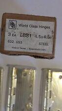 "NEW WORLD CLASS DOOR HINGE GOLD BB81 4.5"" x 4.5"" 632US3 BOX OF 3 FREE SHIPPING"