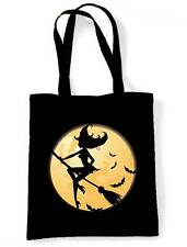 WITCH ON BROOMSTICK SHOULDER BAG - Goth Gothic Wicca Pagan Halloween Shopping
