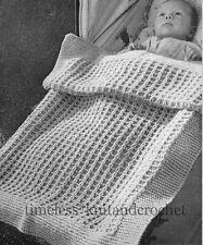 VINTAGE 1950s KNITTING PATTERN FOR BABY / BABIES PRAM BLANKET / COT COVER