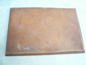 Vintage Brown Leather Shagreen Desk Blotter Writing Peter Jones