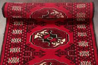 Geometric 225 Knots RED Bokhara 6 ft Runner Rug Hand-Knotted Oriental Wool 2'x6'