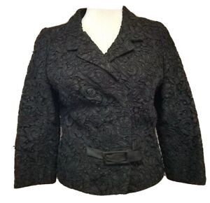 Mid Century Bonwit Teller Suit Separates Crop Blazer Geo Square Print Textured Jacket 60s Black Blazer Vintage 40 Bust