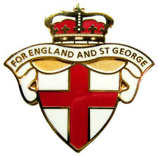 "ENGLAND BADGE ""FOR ENGLAND AND ST GEORGE"" - White Version, Lapel Badge UK Seller"