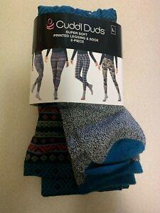 Cuddl Duds Women's 2-Pc. Super-Soft Printed Legging & Sock Set Large (14-16)