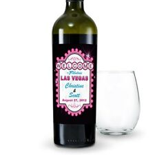 24 Las Vegas Personalized Wedding Wine Bottle Labels