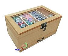 Boîte Boîte de Stockage Couture avec Examen Capot / Couvercle Tiroir Bois