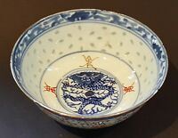 Chinese export blue white red vintage pre Victorian oriental antique dragon bowl