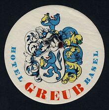 Hotel Greub BASEL Switzerland * Old Swiss Luggage Label Kofferaufkleber