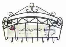 Key Rack Mail Holder Black Laquer Metal Sale Reduced Wall Mountable