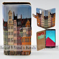 For LG Series - Polish Colour Buildings Print Wallet Mobile Phone Case Cover