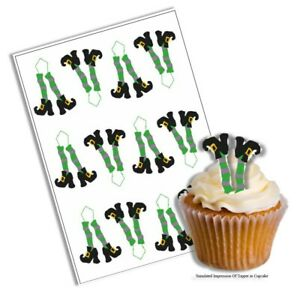 Cupcake Decoration Halloween Witch Legs Picks UNCUT 12 Stand Up Wafer Paper