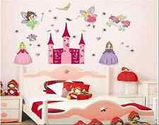 Fairy maiden pixie princesse château maternelle enfant fille art mur autocollant décalques uk