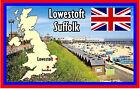 LOWESTOFT, Suffolk, GB - RECUERDO ORIGINAL Imán de NEVERA-Banderas/MONUMENTOS-