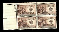 US 1950 Scott # 995  3 cent  Boy Scouts Stamp Mint NH Plate Block of 4