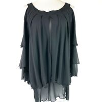 HOT IN HOLLYWOOD Women's Black Cold Shoulder Size L Ruffled Front Sleeves NWT