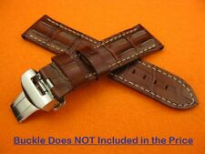 24mm Pam 1950 HORNBACK CROC Deployment Leather Strap Brown Watch Band 44mm C