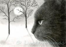 ACEO art print black Cat 590 from original painting by L.Dumas