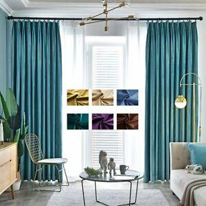 Blackout Luxury Velvet Curtains Bedroom Solid Plain Window Door Curtain Drape